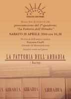 La fattoria dell'Abbadia: sabato 30 la presentazione del 2° quaderno