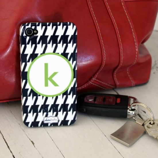 Clairebella Houndstooth monogrammed phone case
