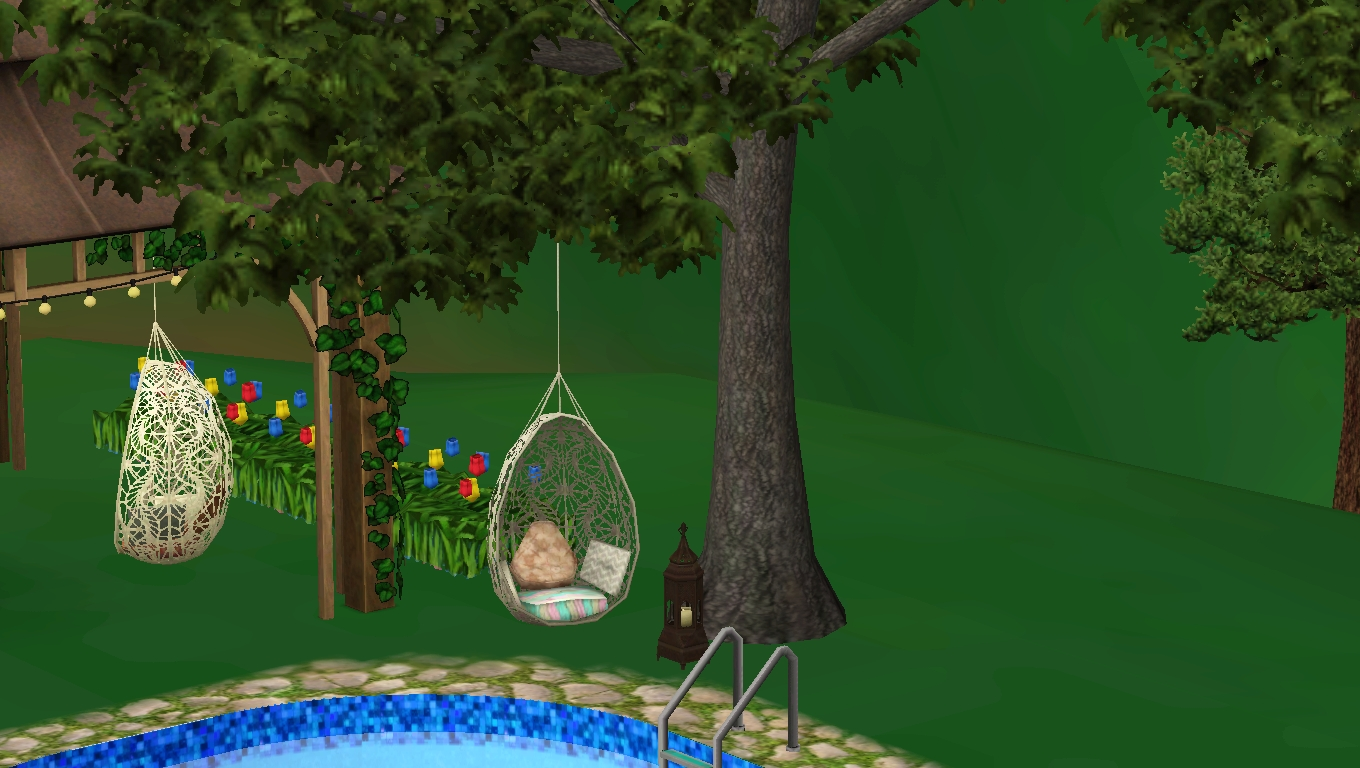hanging chair the sims 4 how much does a lift cost average sim q review bohemian garden absolute best thing about this and patchwork pouf beanbag type seat also included is that it causes to cross their legs when they sit