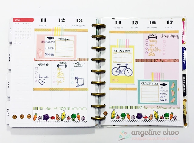 Happy Planner: Food and Fitness with JLO Stamps #scrappyscrappy #jessicalynnoriginal #jlostamp #stamp #happyplanner #meandmybigideas #planner #plannerstamps #fitness #food #veggies #copic #washi #coloring