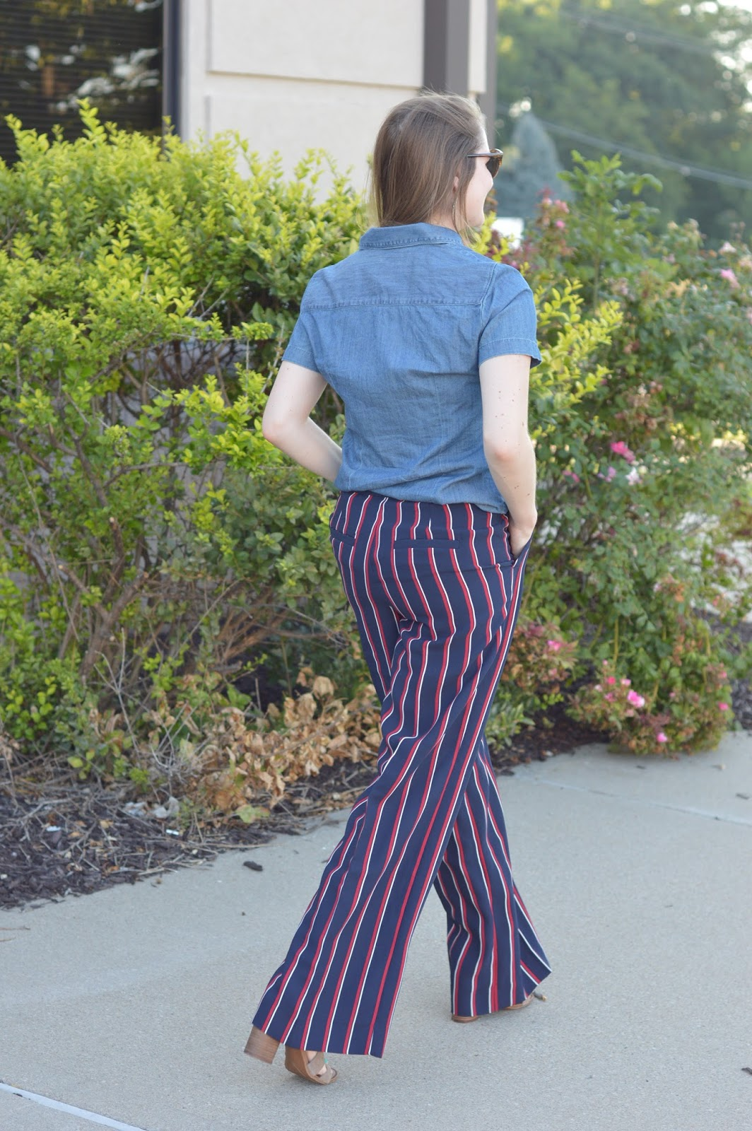 work outfit ideas | a memory of us | what to wear to work this fall | fall outfit ideas | striped dress pants | new ways to style dress pants | a memory of us |