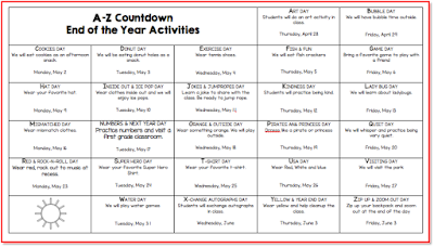 Count down the days until summer vacation with fun activities each day starting with the letter A and ending on Z to Zip up and Zoom out.  This is an editable word doc calendar.  The ideas are there all you need to do is change the dates to meet your needs.  It is a word doc formatted to be printed on legal sized paper 8.5x14