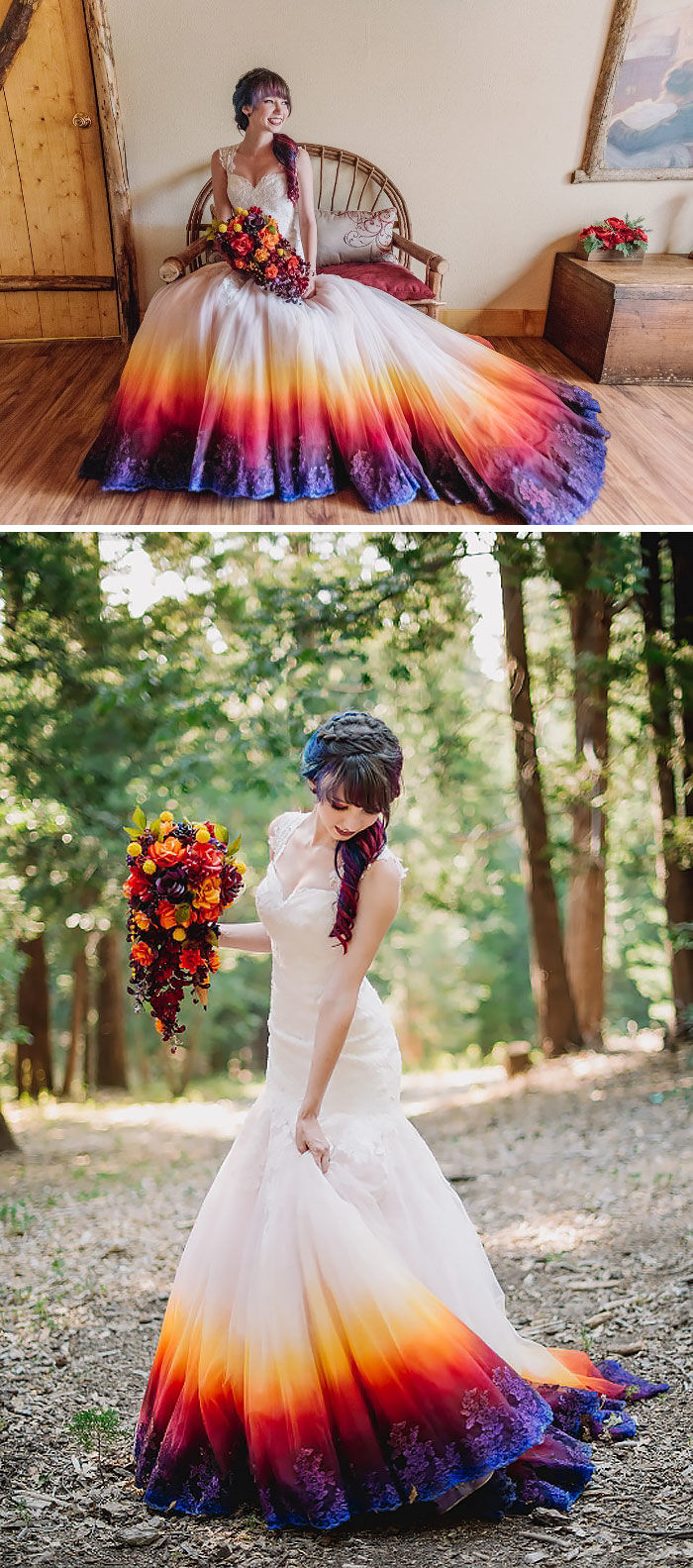 K'Mich Weddings - wedding planning - dyed dresses - bride sitting in a chair in an ombre dress