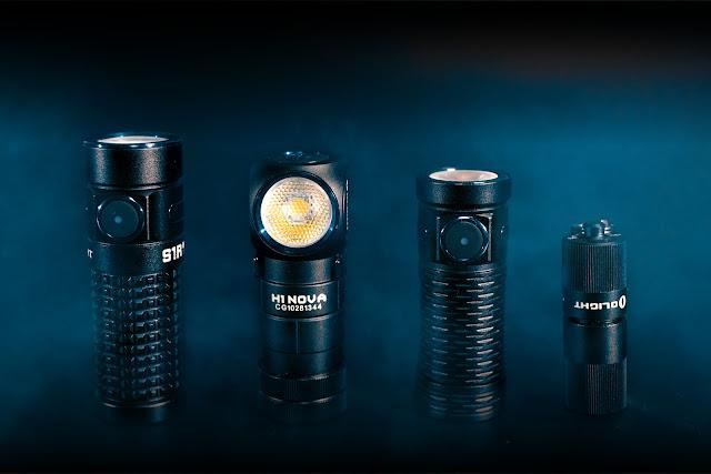 Od lewej: bohater tekstu Olight S1R BatonII, Olight H1 Nova, Olight S1 Mini Baton HCRI, Olight i1r