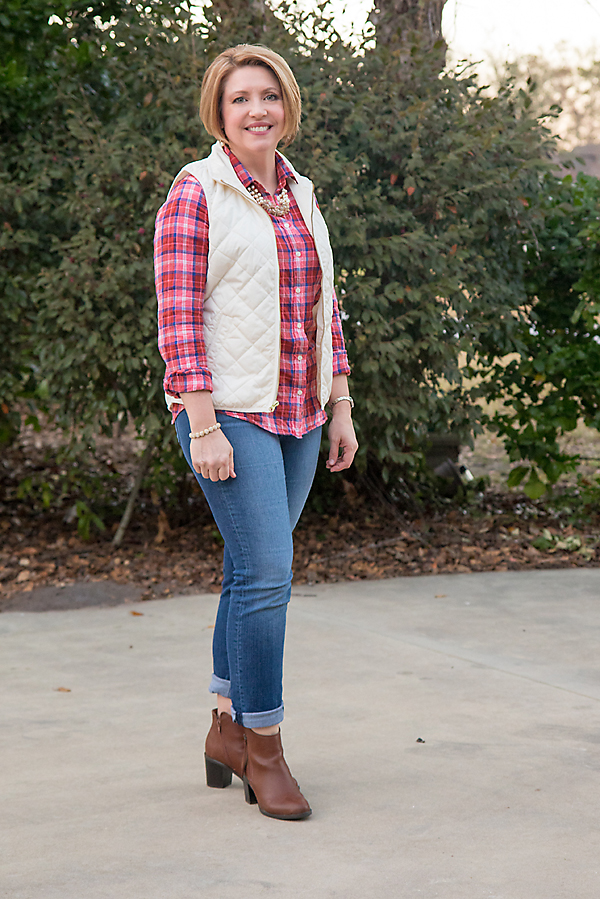 red plaid shirt, puffer vest