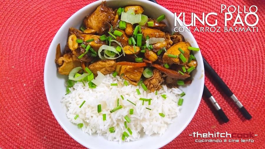 Pollo kung pao con arroz basmati