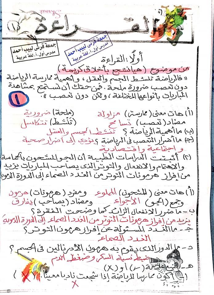 مراجعة اللغة العربية للصف الأول الاعدادي ترم ثاني أ/ جمعة قرني لبيب 2