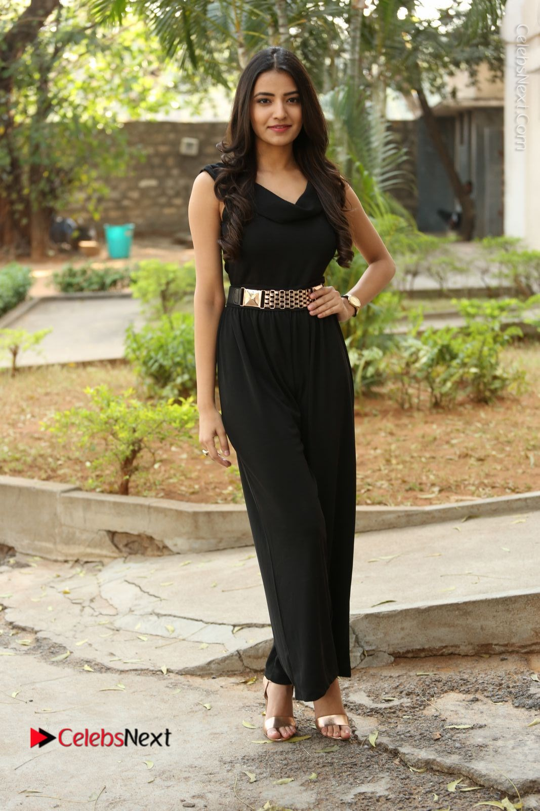 Rukhsar Mir Stills in Black Long Dress at Aakatayi Movie First Look Launch