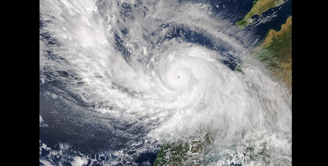 Hurricane Patricia was the most intense tropical cyclone ever recorded in the Western Hemisphere as it approached the west coast of Mexico in 2015. (NASA image by Jeff Schmaltz, LANCE/EOSDIS Rapid Response)