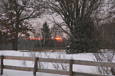 Winter sunrise over neighbor's fence