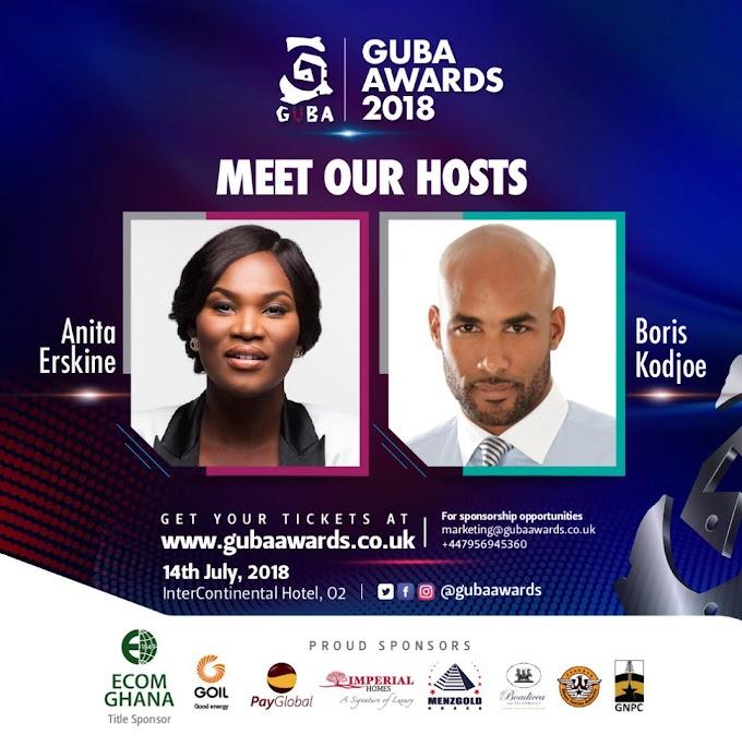 Anita Erskine and Boris kodjoe to host 2018 Guba Awards on 14 July at the Intercontinental Hotel, O2, London