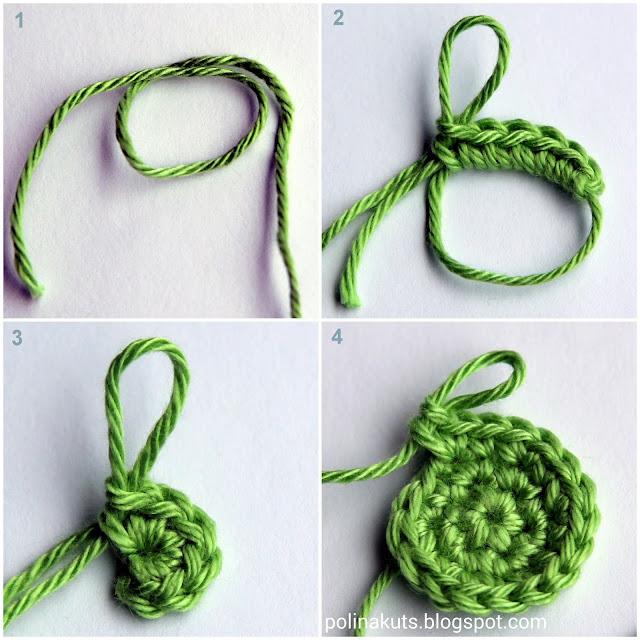 Начало вязания из кольца