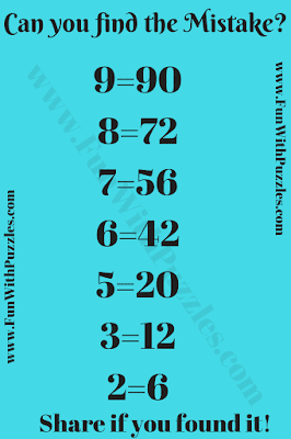 This is the puzzle in which your challenge is to find the mistake in the given puzzle picture.