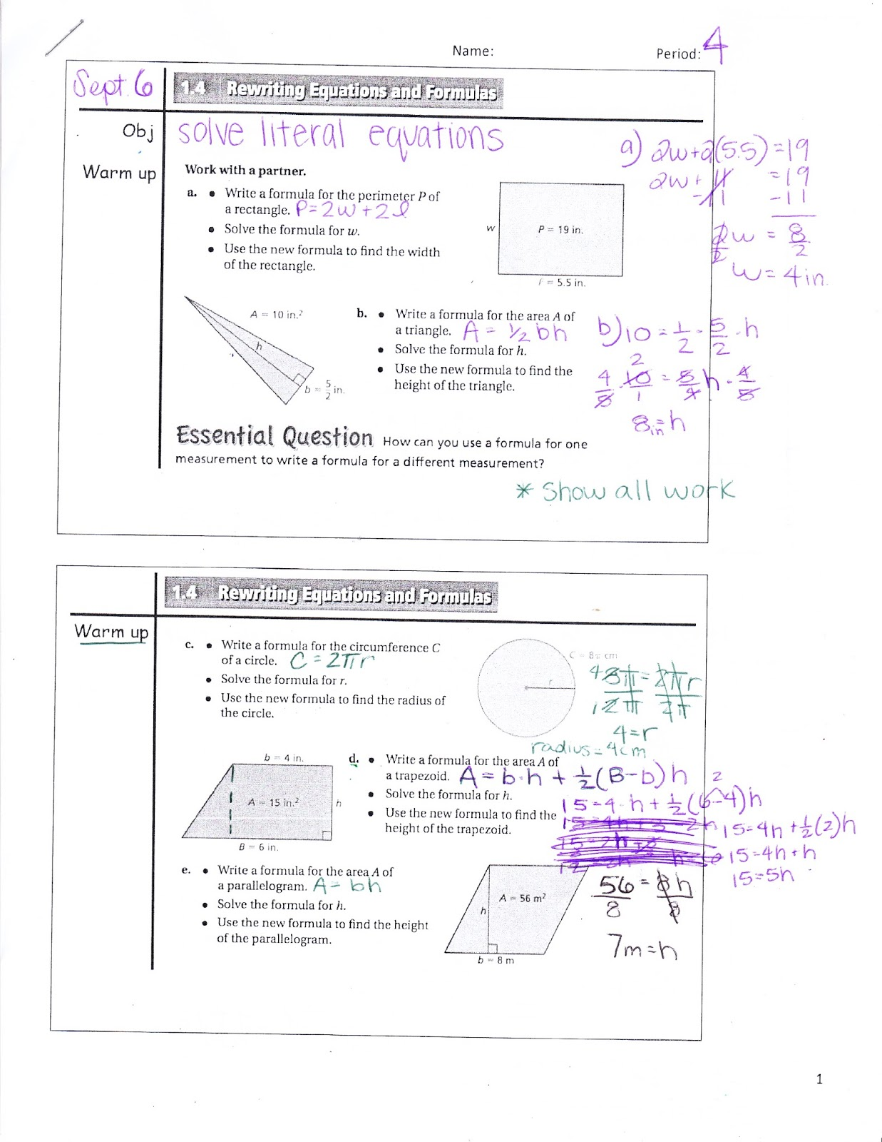 Ms Jean S Accel 7 Blog 1 4 Rewriting Equations And Formulas