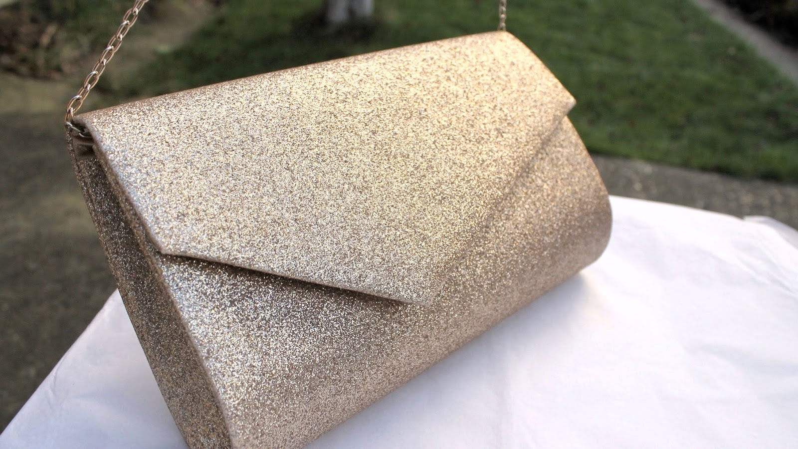 Gold Glitter Clutch Handbag