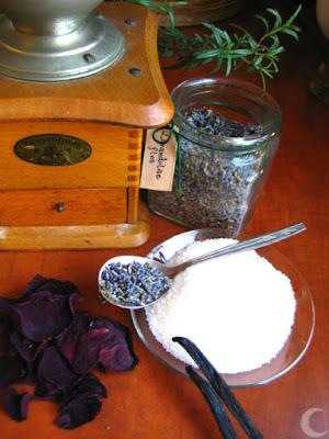 Hand mill, sugar, vanilla, lavender, rose petals, rosemary