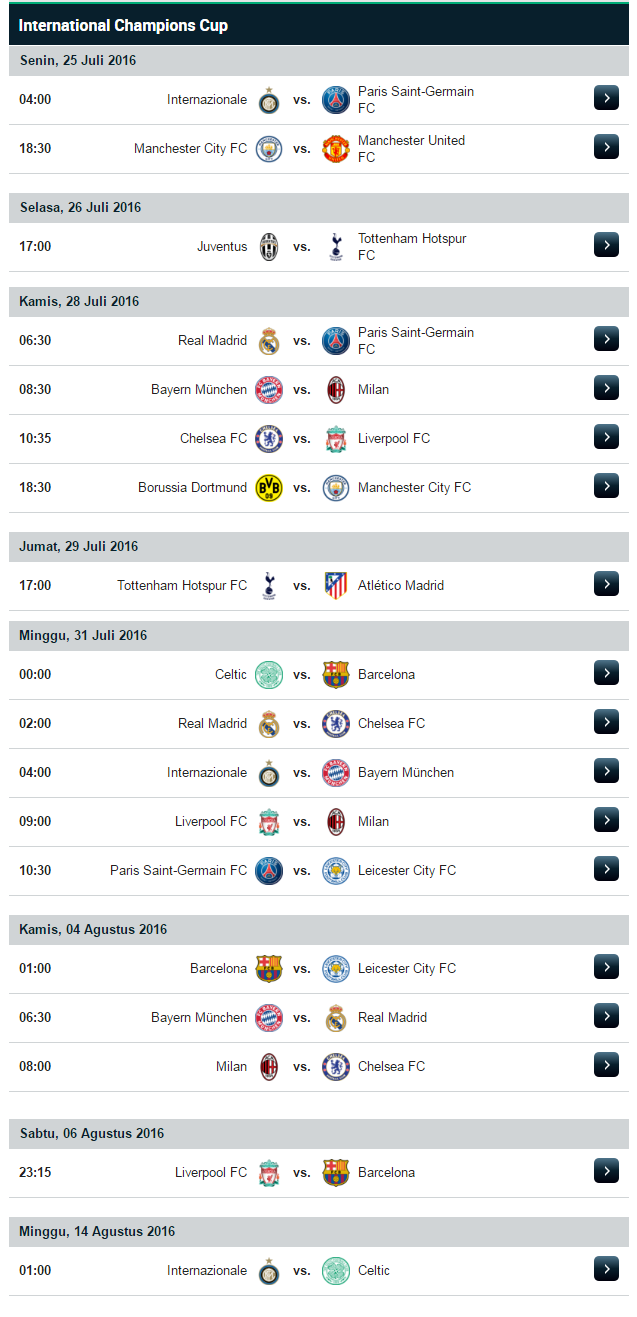 Jadwal Pertandingan International Champions Cup (ICC) 2016