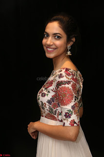 Ritu Varma smiling face Cream Anarkali dress at launch of OPPO New Selfie Camera F3 ~  Exclusive 033.JPG