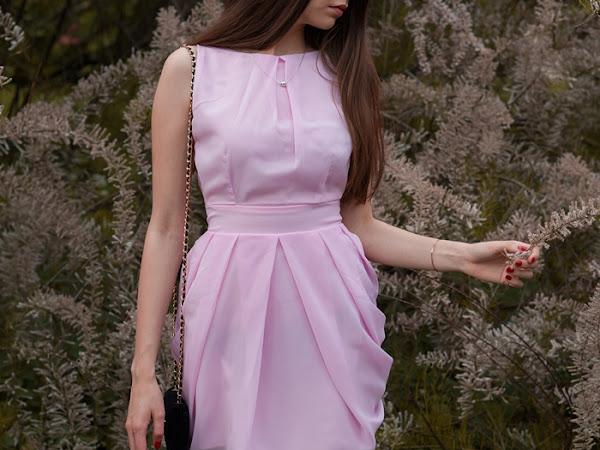 243. Stylizacja: różowa sukienka - elegancko z SH