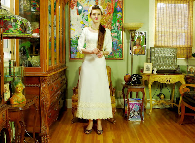 60s Simplicity Vintage White Linen Sheath Bridal Gown with Ecru Cotton Lace and Detachable Train