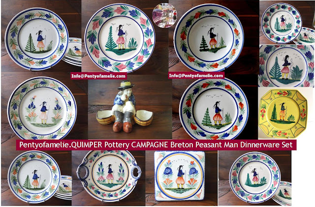 French vintage Quimper Pottery. Campagne pattern featuring old Breton Peasant Man plates and Dinnerware Set from pentyofamelie.
