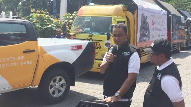 Anies Lepas Bantuan 212 Ton untuk Korban Gempa Lombok