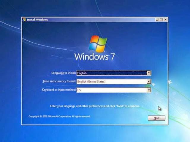 Memilih Bahasa pada  Windows 7