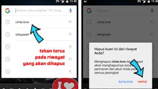 menghapus histori google di android/hp