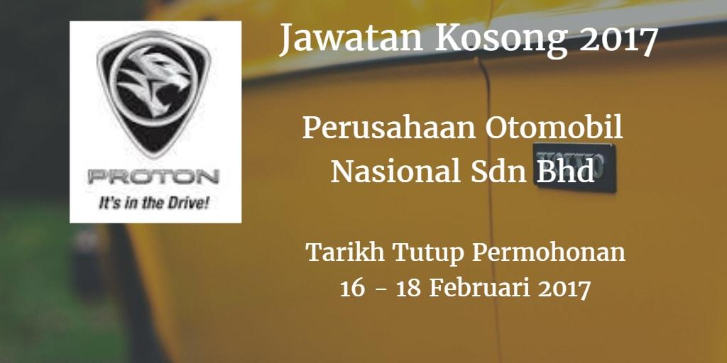 Jawatan Kosong PROTON 16 - 18 Februari 2017