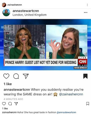 The moment CNN anchor, Zain Asher and her colleague Anna Stewart realised they coincidentally wore same dress on Air