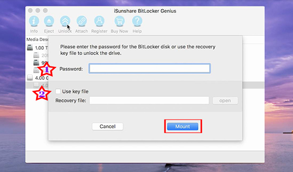 two ways to unlock the BitLocker drive on Mac