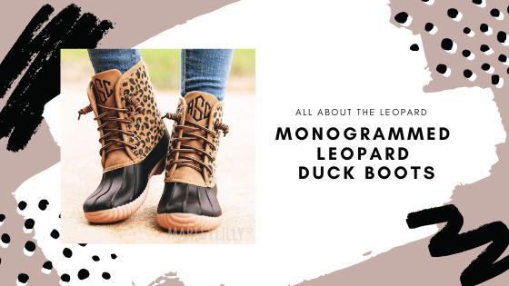 monogrammed leopard duck boots