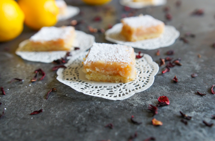 Hibiscus Lemon Squares ♥ a rose-gold colored dessert