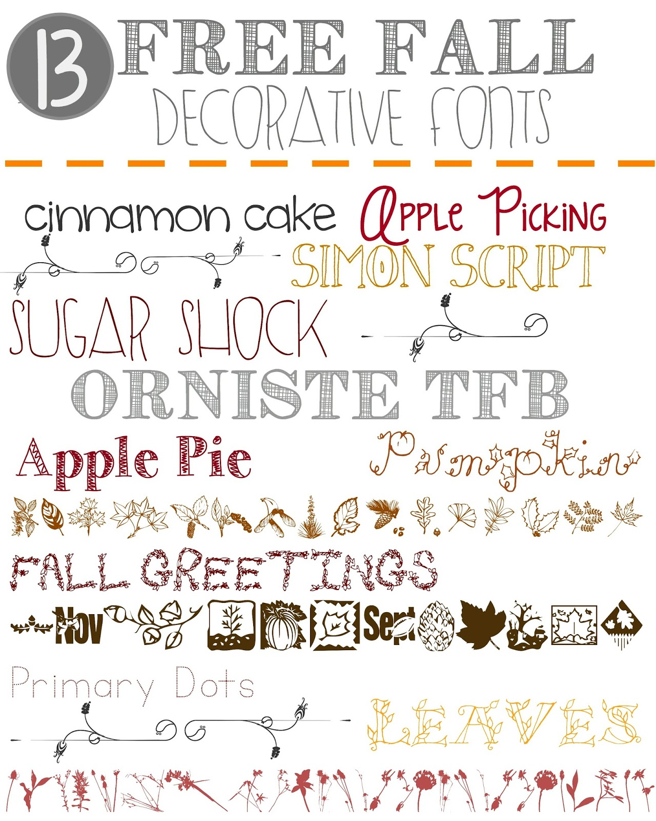 13 Free Fall Decorative Fonts