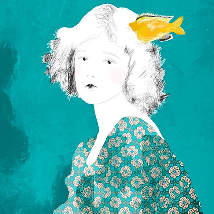 Ilustración, Peces en la cabeza de Julia Díaz