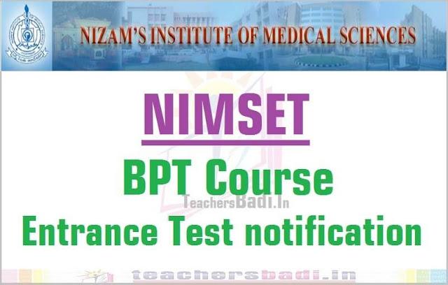 NIMSET,BPT Course,Entrance Test 2016 notification