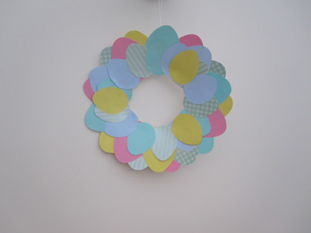 Finished wreath hanging on the wall