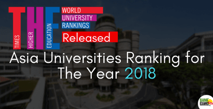 THE Released Rankings of Asia Universities for 2018