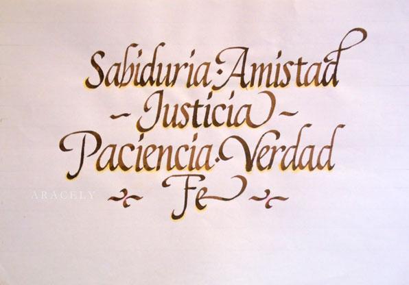 Palabras con caligrafía cancilleresca