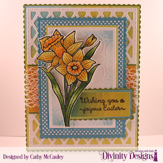 Divinity Designs Stamp Set: Daffodils, Paper Collection: Birthday Brights, Mixed Media Stencil Petals, Custom Dies: Lattice Background, Pierced Rectangles, Scalloped Rectangles, Rectangles, Daffodil