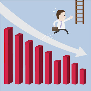 A bar graph shows a downward trend as a cartoon businessman reaches for a rescue ladder
