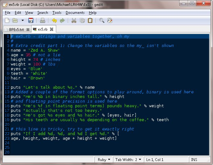 TESTHEAD: Exercise 5: More Variables And Printing: Learn Ruby The