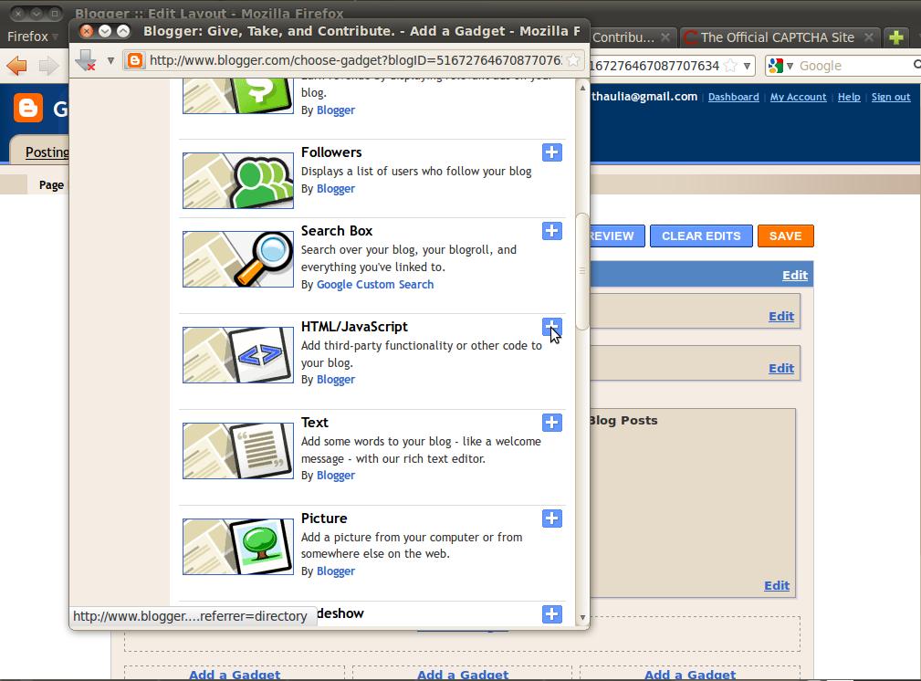 Pankaj Thaulia's Blog!: How to add reCAPTCHA gadget to your blogger