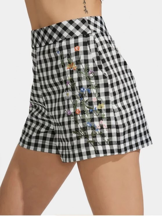 Checked Floral Embroidered High Waisted Shorts