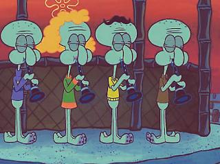 'Spongebob Squarepants' scene- Squidward plays clarinet with other squids