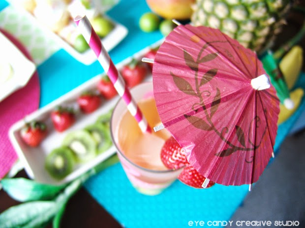 cocktail umbrella, striped straw, luau cocktail, luau drink, strawberries