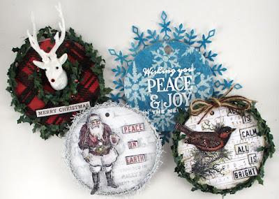 Stampers Anonymous Tim Holtz Festive Overlay Music and Advert Tim Holtz Layering Stencil Plaid Snowflakes For the Funkie Junkie Boutique