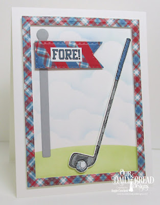 ODBD Golf Stamp/Die Duos, ODBD Custom Double Stitched Pennant Flags Dies, ODBD Custom Double Stitched Rectangles Dies, ODBD Custom Clouds and Raindrops Dies, Card Designer Angie Crockett