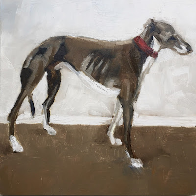 """Red collar"" Original oil painting by Philine van der Vegte"