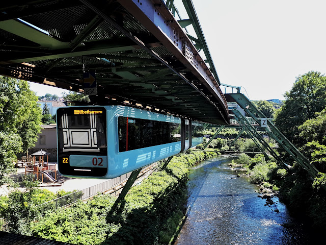 Schwebebahn in Wuppertal above the Wupper river